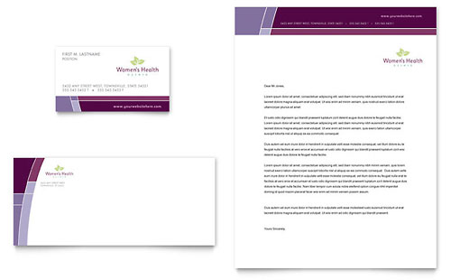 Women's Health Clinic Business Card & Letterhead Template Design