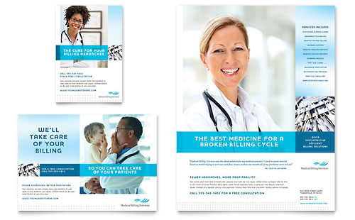 medical billing coding flyer ad template design