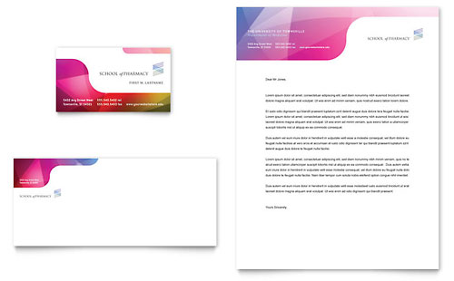 Pharmacy School Business Card & Letterhead Template Design