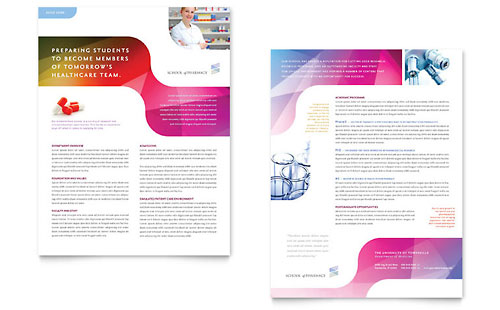 Pharmacy School Datasheet Template Design