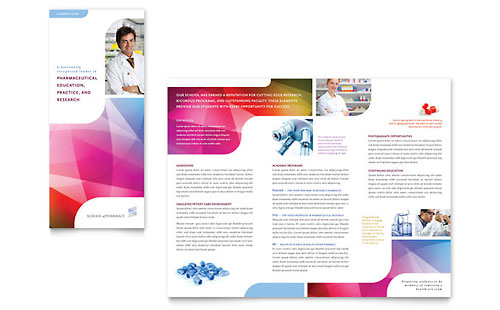 Pharmacy School Tri Fold Brochure Template Design - School brochure template free