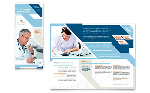 medical transcription tri fold brochure template design