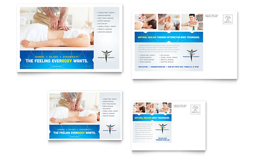 Reflexology & Massage Postcard Template Design
