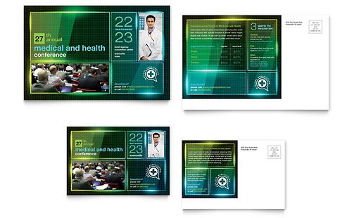 Medical Conference Postcard Template Design