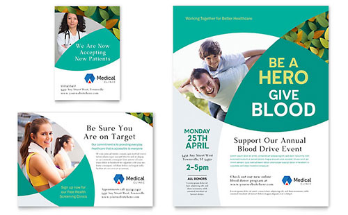 Medical health care print ads templates design examples for Ad designs