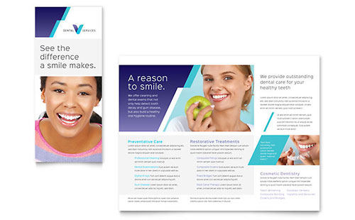 Dentist Tri-Fold Brochure Template Design