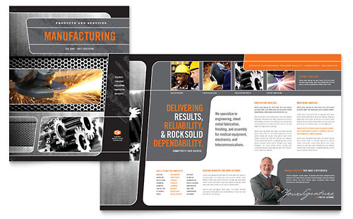 Manufacturing Engineering Brochure Template Design