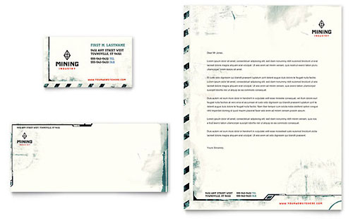 Mining Company Business Card & Letterhead Template