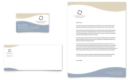Marketing Consulting Group Business Card & Letterhead Template Design