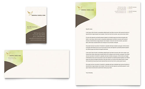 Memorial & Funeral Program Business Card & Letterhead Template