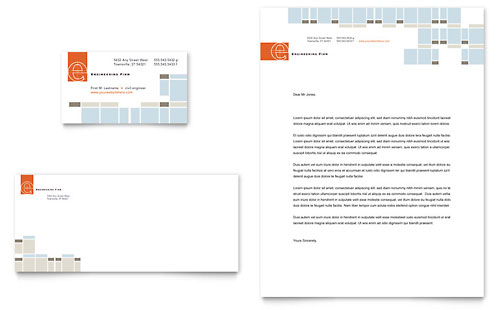 Civil Engineers Business Card & Letterhead Template Design