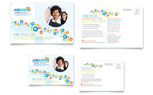 Job Expo & Career Fair Postcard Template Design