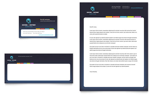 Secretarial Services Business Card & Letterhead Template Design