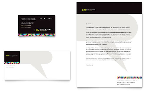 Human Resource Management Business Card & Letterhead Template Design