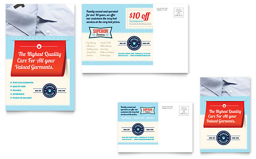 Laundry Services Postcard Template Design