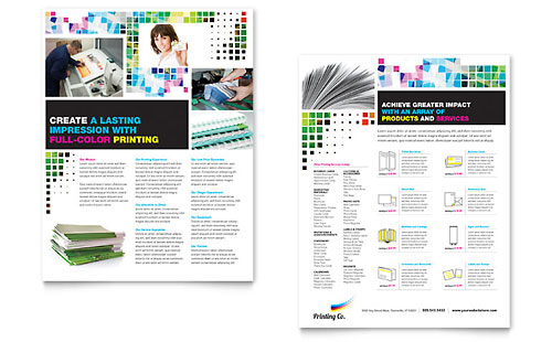 Printing Services Sales Sheets  Templates  Designs  Sample Layouts