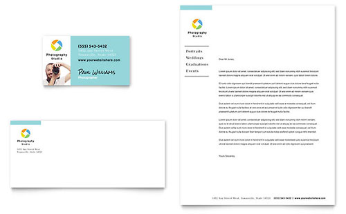 Photographer Business Card Letterhead Template Design - Business card template publisher