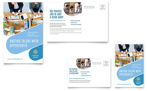 Employment Agency Postcard Template Design