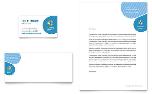 Employment Agency Business Card & Letterhead Template Design