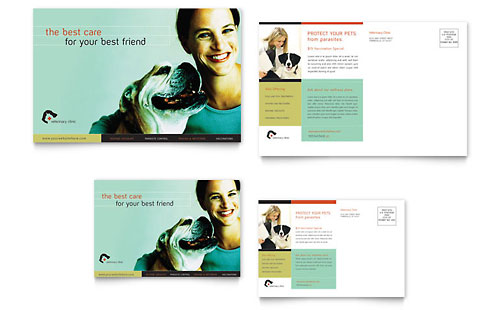 Veterinary Clinic Postcard Template Design