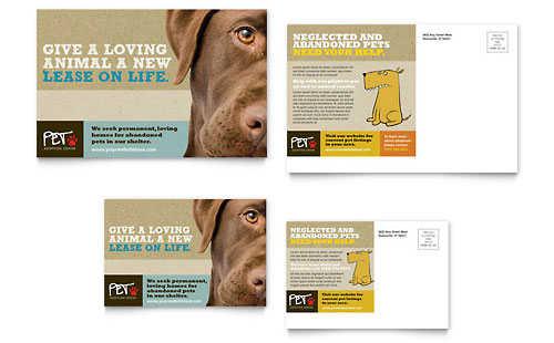 Animal Shelter & Pet Adoption Postcard Template Design