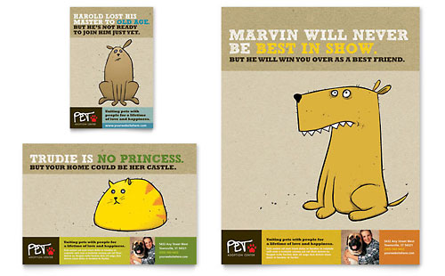 Animal Shelter & Pet Adoption Flyer & Ad Template Design