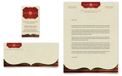 Horse Riding Stables & Camp Business Card & Letterhead