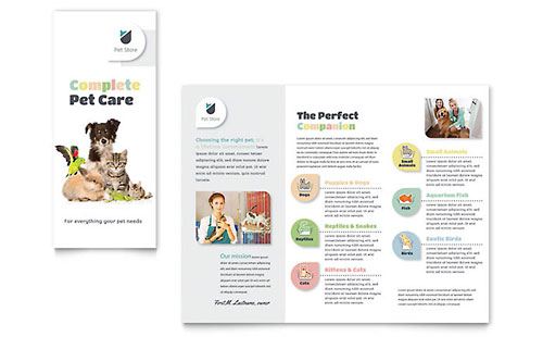 Pet Store Brochure Template Design