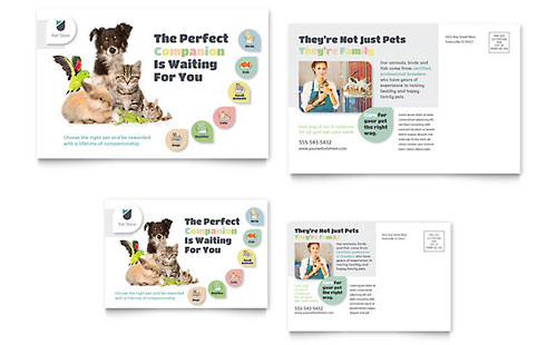 Pet Store Postcard Template Design