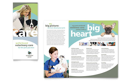 Vet Clinic Tri-Fold Brochure Template Design