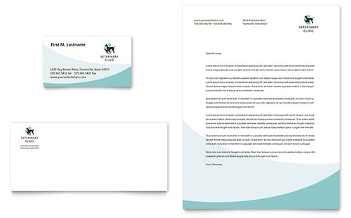 Vet Clinic Business Card & Letterhead Template