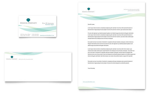 Coastal Real Estate Business Card & Letterhead Template