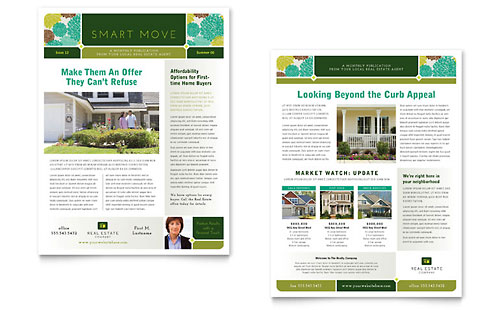 Real estate newsletter template design for Newsletter layout templates free download