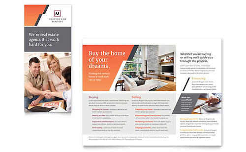 Mountain Real Estate Tri-Fold Brochure Template Design