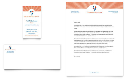 Evangelical Church Business Card & Letterhead Template