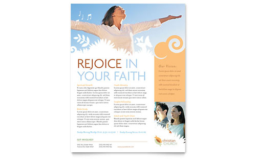 Church Marketing Brochures Flyers Newsletters Postcards - Free church flyer templates microsoft word