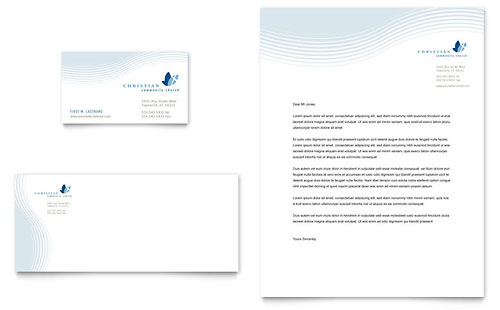 Christian Ministry Business Card & Letterhead Template Design