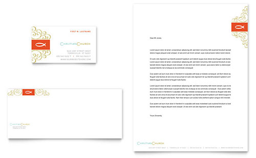 Christian Church Religious Business Card Letterhead Template