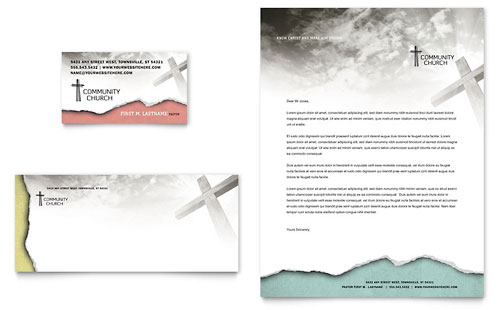 Bible Church Business Card & Letterhead Template
