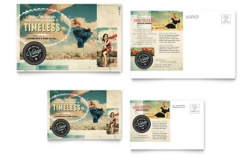 Vintage Clothing Postcard Template Design