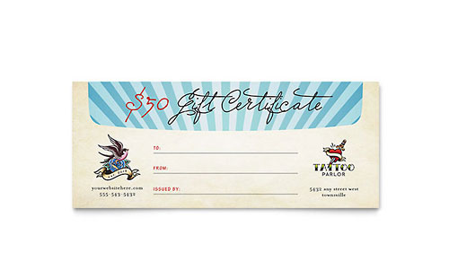 Body Art Tattoo Artist Gift Certificate