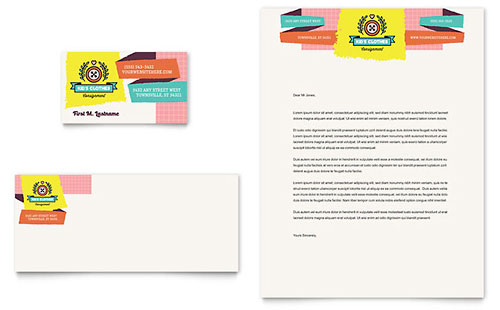 Kids Consignment Shop Business Card & Letterhead Template Design