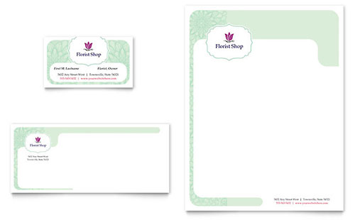 florist business card letterhead template
