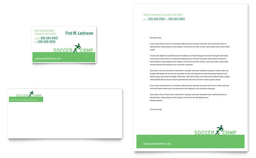 Soccer Sports Camp Business Card & Letterhead Template