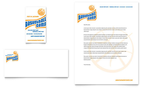 Basketball Sports Camp Business Card & Letterhead