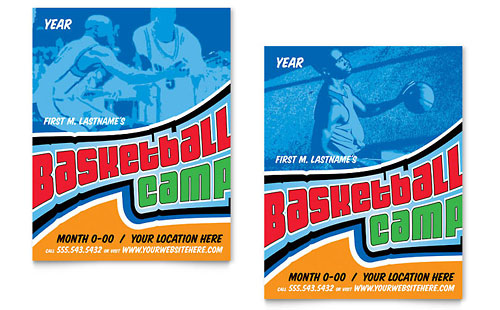 Basketball Sports Camp Poster Template Design