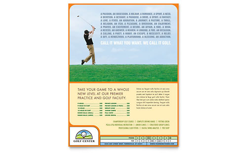Golf Instructor & Course Flyer