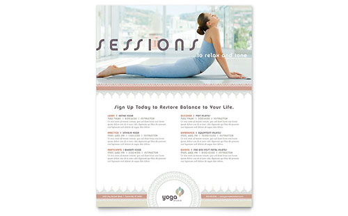 Pilates yoga flyer ad template design for Yoga brochure templates