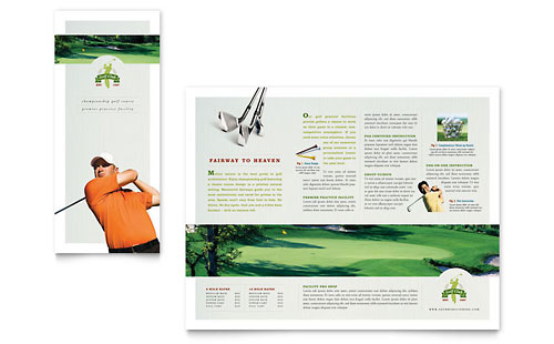 Golf Course & Instruction Tri Fold Brochure Template