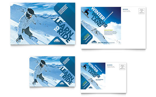 Ski & Snowboard Instructor Postcard Template